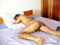 His chest is only slightly hairy, but the thighs, the ass and his cock are very hairy.