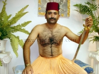 In this turkish gay video he plays an ottoman soldier with a sword and fez.