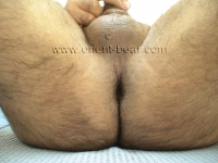 . His cock has a normal size, but is nice and thick, he has a big cock head and his bush is trimmed. In this turkish gay video he is in the garage with street clothes. He strips naked and shows his hot body. He jerks his legs apart on a lounger, the camera shows his hairy ass crack beautifully.