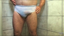 no-name-no-face-031 - a strong Older Turkish Bear jerks off in the shower in a turkish gay video. (id1562)
