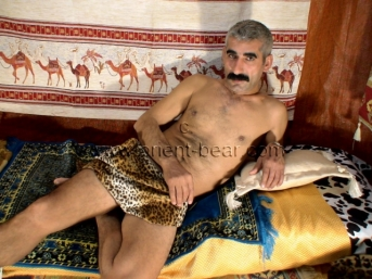 Ismael M. - a kurdish man with a big hairy cock lies naked in the tent and has an intense orgasm. (id460)