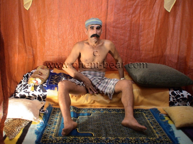 Ismael M. - a naked kurdish man wanks in a turkish gay video and has a intense orgasm.  His body is thin and tall and normally hairy. His cock is nice and stiff and he has the big black bush. In this gay video he plays an ottoman pasha in a bedouin tent.