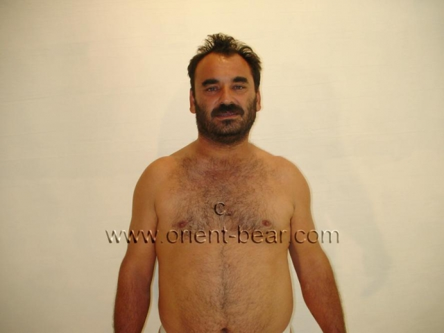 go to this turkish gay photo. A very strong turkish Bear with a very strong body and a big butt seen in a turkish gay video. His body is very powerful like a real turkish bear, but with little body hair. In this turkish gay video he is in jockstraps in the studio. His face is erotic and oriental with a beard. He shows his strong body in many positions and then strips naked. His cock is not that big, but he is nice and thick with a big cock head and he has a small bush.